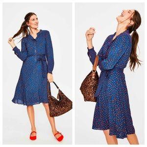 Boden Melissa Ruffle Neck Daisy Print Midi Dress